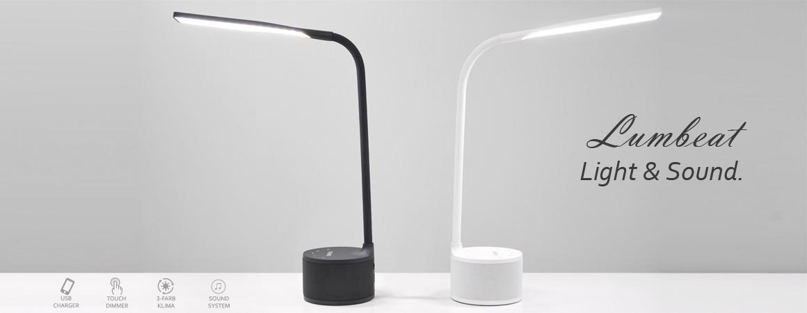 VASNER-Bluetooth-Tischlampe-Musik-ausgefallene-Tischleuchte-Lumbeat-Smartphone-Ladestation-LED-dimmbar