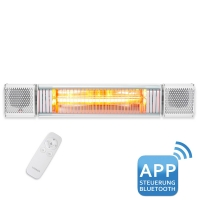 VASNER Appino BEATZZ White - Bluetooth Infrarot-Heizstrahler, LED Backlight Licht, Musik-Lautspreche