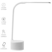 VASNER Lumbeat Schreibtischleuchte LED weiß 3,5 W dimmbar USB Bluetooth Musik Tageslicht