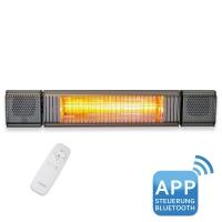 VASNER Appino BEATZZ Grey - Bluetooth Infrarot-Heizstrahler, LED Backlight, Licht Musik-Lautsprecher