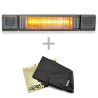 VASNER Appino BEATZZ Grau Bluetooth Infrarot-Heizstrahler, LED, Musik-Lautsprecher mit AirCape Haube